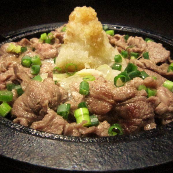 牛肉おろしポン酢の鉄板焼き